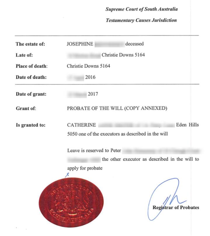 grant of probate sample