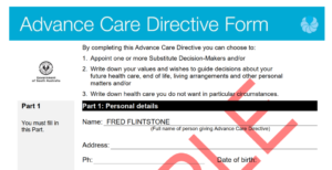 Advanced Care Directive example